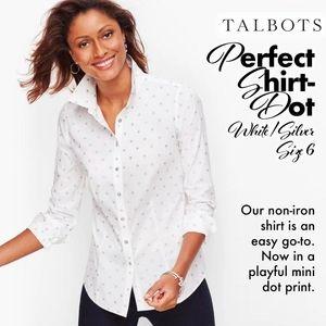 Talbots Perfect Shirt - Dot White / Silver